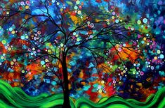 Abstract Art Original Landscape Painting Bold Colorful Design Shimmer In The Sky By Madart (Print) by Megan Duncanson