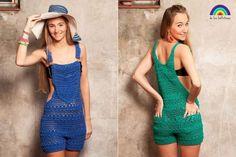 Crochet Overall Romper Crochet Romper, Bikinis Crochet, Crochet Pants, Crochet Skirts, Crochet Clothes, Crochet Top, Crochet Jumpsuits, Rompers, Crochet Designs