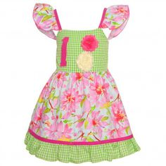 Sophias Style Exclusive Baby Girl Pink Green Floral Check Birthday Dress 12M-24M