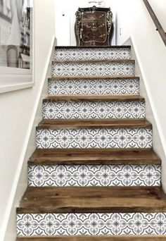 - Stairway Designs & Ideas - Stair Riser Vinyl Strips 15 steps Removable Sticker Peel & Stick : MarrakechGrey Decorative stair-riser is hot in the last home decor scene, we have it easy for you to lift your staircase in just a peel away. Tile Stairs, Basement Stairs, Open Basement, Basement Ideas, Stairs Tiles Design, Flooring For Stairs, Easy Home Decor, Basement Remodeling, Home Projects