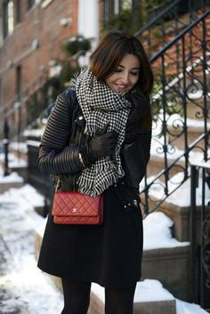 lovely pepa. spring/fall outfit. black leather jacket, plaid scarf, red shoulder bag #style #blogger