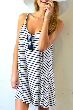 Spaghetti Strap A Line Stripe Dress