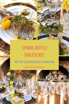 spring bottle tablescape