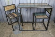 Industrial Wood & Iron Table Set Decor, Wood, Table, Reclaimed Wood, Vintage Industrial Furniture, Furniture, Iron Table, Table Settings, Home Decor