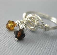 Dangle Ring Wire Wrapped Sterling Silver With by holmescraft, $22.00