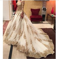 fbaf1c99a40 ... Two Pieces Wedding Dress Arabic Ball Gown Gold Lace Beads Luxury V Neck  3 4 Long Sleeves Chapel Train Vintage Bridal Dresses 2015. weddingsonline  India