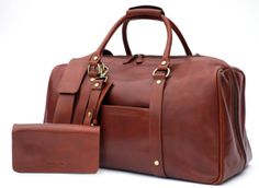Wool & Oak leather duffle suitcase, fitted with compartments, pockets, etc. to fit all you need to travel with inside!