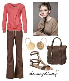 """Nantucket"" by disneydiva7 ❤ liked on Polyvore featuring Citizens of Humanity, Zalando, Moda In Pelle, DUO, French Connection, rachelleceline, gladiator sandals, disneydiva7, corduroy brown flared pants and shoulder bag"