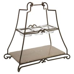 Add a touch of elegance to your buffet with the American Atelier Mendocino White 2 Tier Server with Black Metal Stand . This beautifully crafted metal. Entryway Console Table, Dining Room Buffet, Dining Rooms, Dining Area, Tiered Server, Tiered Stand, Joss And Main Furniture, Rustic Tabletop, Cheese Table