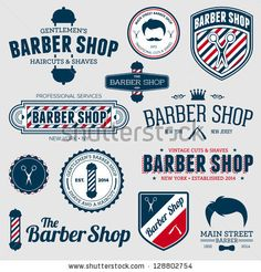 Set of vintage barber shop logo graphics and icons - stock vector