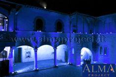 ALMA Project @ Castello Il Palagio - Blue Lighting - LED Bars - Courtyard 5 blue