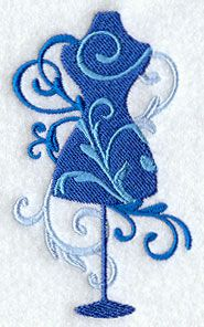 """Filigree Dress FormProduct ID:E3178 Size:2.31""""(w) x 3.85""""(h) (58.7 x 97.8 mm)Color Changes:4 Stitches:8713Colors Used:4"""