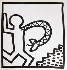 Available for sale from Lot Keith Haring, Keith Haring lithograph 1982 (Keith Haring prints) Offset lithograph, 9 × 9 in Keith Haring Prints, Keith Haring Poster, Haring Art, Principles Of Art, Dog Tattoos, Tatoos, Mural Art, Wall Art, Renaissance Art