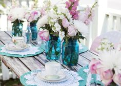 Simply gorgeous. #wedding #events #vintage #blue #purple #flowers #jars Babyshower, Tea Time, Party Time, Tea Party Birthday, 60th Birthday, Cinderella Birthday, Birthday Ideas, Tea Parties, Garden Parties