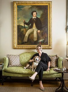 """Author Julia Reed exemplifies Southern grace as does her apartment's """"magpie"""" mix of Old World antiques, majestic oil portraits, quirky accents, and swathes of toile and endless formal seating options."""