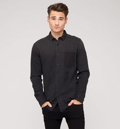 Jeanshemd in schwarz