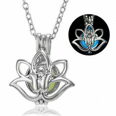 Glow in the Dark Lotus Flower Necklace Pendant Yoga Mantra Meditation Chakra OM #Unbranded #Pendant