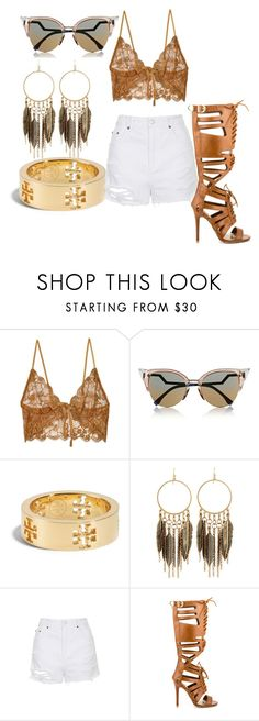 """""""White and gold"""" by sjpj ❤ liked on Polyvore featuring For Love & Lemons, Fendi, Tory Burch, Panacea, Topshop and Qupid"""