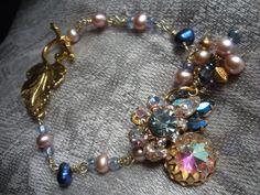 Aurora+Borealis+Rhinestone+Freshwater+Pearl+Bracelet+