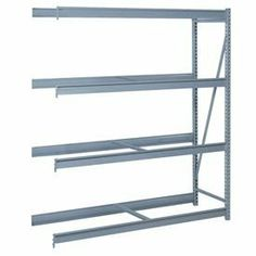 "Bulk Storage Rack Add-On, 4 Tier, Without Decking, 84""Wx30""Dx96""H Blue by LYON WORKSPACE PRODUCTS. $290.95. Bulk Storage Rack Add-On, 4 Tier, Without Decking, 84""Wx30""Dx96""H Blue Heavy gauge steel uprights and beams. Adjustable on 1-1/2"" centers. 1650-3300 lbs. capacity per pair of beams. Weight Capacity based on evenly distributed load. 10,000 lbs. per upright assembly."