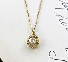 Rose Cut Diamond Solitaire Pendant, Antique 14k Necklace, Rustic Boho Bohemian Love Token, Bridesmaid Bridal Bride Jewelry, Anniversary Gift by TheEdenCollective on Etsy https://www.etsy.com/listing/242967271/rose-cut-diamond-solitaire-pendant