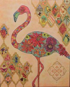 Paper napkin collage tropical flamingo.
