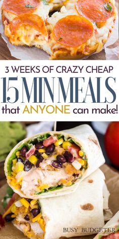 Hands down this is the best list of cheap and easy 15 minute meals. I need easy dinners for the weeknights- I've got kids in after school sports and activities and as a working mom, I'm rushing home a Cheap Easy Meals, Cheap Dinners, Easy Weeknight Meals, Frugal Meals, Budget Meals, Cheap Fast Food, Easy Weekly Meals, Cheap Healthy Dinners, Inexpensive Meals