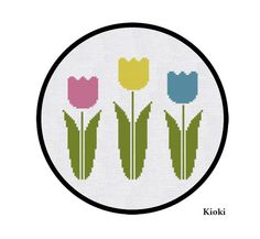 Cross Stitch Pattern Tulips Instant Download
