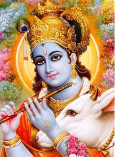 Krishna is usually shown as a young infant, playing a flute. Krishna was a naughty child that grew up to be a cow-herder and slay various demons. He was a hero and a teacher.