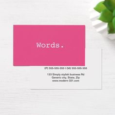 "Modern simple pink writer publisher editor business card Modern, simple yet elegant personal profile or business card featuring the word ""Words"" written in the font courier. The text can easily be changed to something else. Customizable contact information on the back, gray and pink text. For custom requests please use the store contact link above. Stylish, contemporary design. Great for writers, publishers, printers, editors, journalists, translators, speech therapists or anyone who is…"
