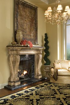 The Brookstone Fireplace Surround is beautifully crafted in decorative cast stone with scrolling sides and acanthus leaf detailing. The surround is sold complete with a black fossil stone top. Stone Fireplace Mantel, Fireplace Mantle, Fireplace Surrounds, Fireplace Design, Fireplace Ideas, Stair Stickers, World Decor, Light My Fire, Tuscan Decorating