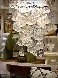 The Little Red Shop - Very cool idea for a light fixture! Punch Cups!