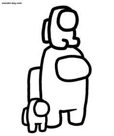 Among Us Coloring Pages Astronaut With a Pet.   Cute easy ...
