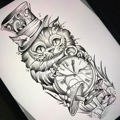 Alice In Wonderland Cheshire Cat Tattoo Alice im Wunderland Cheshire Cat Tattoo Diy Tattoo, Tattoo Cat, Tattoo Thigh, Tattoo Sketches, Tattoo Drawings, Art Drawings, Wolf Drawings, Drawing Drawing, Body Art Tattoos