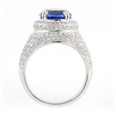 Royal Purple Tanzanite Ring with Pave Diamonds   Wixon Jewelers