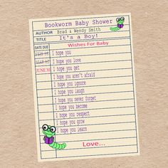Baby Shower Games on Library Card: Wishes for Baby & Children's Book Title Scramble
