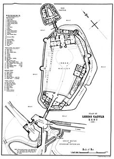Leeds Castle, plan by E. Stanford, 'The History and Description of Leeds Castle, Kent' by Charles Wykeham Martin, Esq. The Plan, How To Plan, Royal Family Lineage, Hastings Castle, Castle Layout, Castle Floor Plan, Leeds Castle, British Country, Castle House
