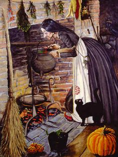 Stirring the Pot by Joseph Holodook ~ old woman ~ witch ~ black cat ~ Halloween