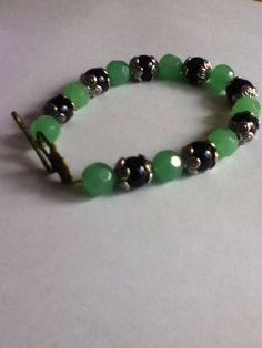 black and jade beaded bracelet by SimmysJewelryBox on Etsy, $9.50
