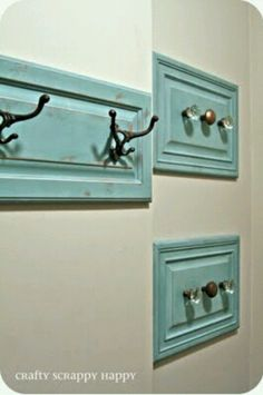 DIY - Drawer facings with either hooks or door knobs instead of a towel rack.