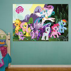 My Little Pony Mural REAL.BIG. Fathead – Peel & Stick Wall Graphic | My Little Pony Wall Decal | Kids Decor | Bedroom/Playroom/Nursery