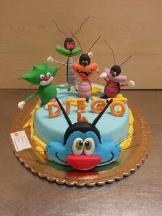 Oggy e maledetti scarafaggi creati con pasta di zucchero.