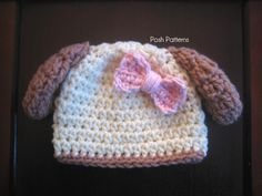 Free Crochet Baby Hat Patterns | Puppy Dog Hat Crochet Pattern | Puppy Beanie | Sizes Baby to Toddler