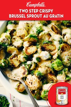 Two Step Crispy Brussels Sprouts Au Gratin Recipe Cook With - Two Step Crispy Brussels Sprouts Au Gratin This Cheesy Golden Side Dish Is So Good It May Even Convert The Brussels Sprouts Haters At Your Table A Few Minutes Of Cooking Time Makes All The Diff Side Dish Recipes, Vegetable Recipes, Dinner Recipes, Veggie Meals, Healthy Eating Recipes, Cooking Recipes, Cooking Time, Great Recipes, Favorite Recipes