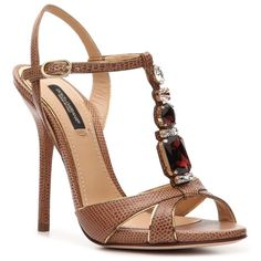 Dolce & Gabbana Reptile Leather Rhinestone Sandal ($400) found on Polyvore