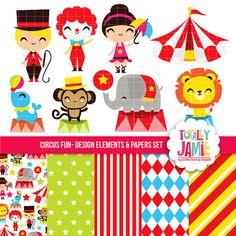 Circus Fun Clip Arts And Digital Papers Set / Digital Clipart
