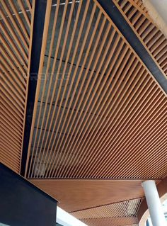 PRANCE- commercial building metal ceilings carefully select raw materials to create good quality ! Baffle Ceiling, Metal Ceiling, Office Ceiling, Cladding Materials, Restaurant Exterior, Mall Design, Bungalow Exterior, Ceiling Treatments, Cafe Interior Design