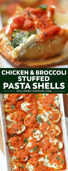 These delicious Chicken and Broccoli Stuffed Shells are an impressively simple comfort food recipe! If you love stuffed pasta recipes, then you will love this hearty variation! #comfortfood #stuffedshells #chicken #broccoli via @yellowblissroad Casserole Recipes, Pasta Recipes, Chicken Recipes, Dinner Recipes, Cooking Recipes, Healthy Recipes, Cooking 101, Chicken Meals, Dinner Ideas