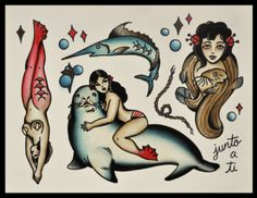 Who WOULDN'T want a naked chick straddling a walrus for a tattoo?