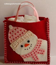 Felt Snowman bag~with tutorial...